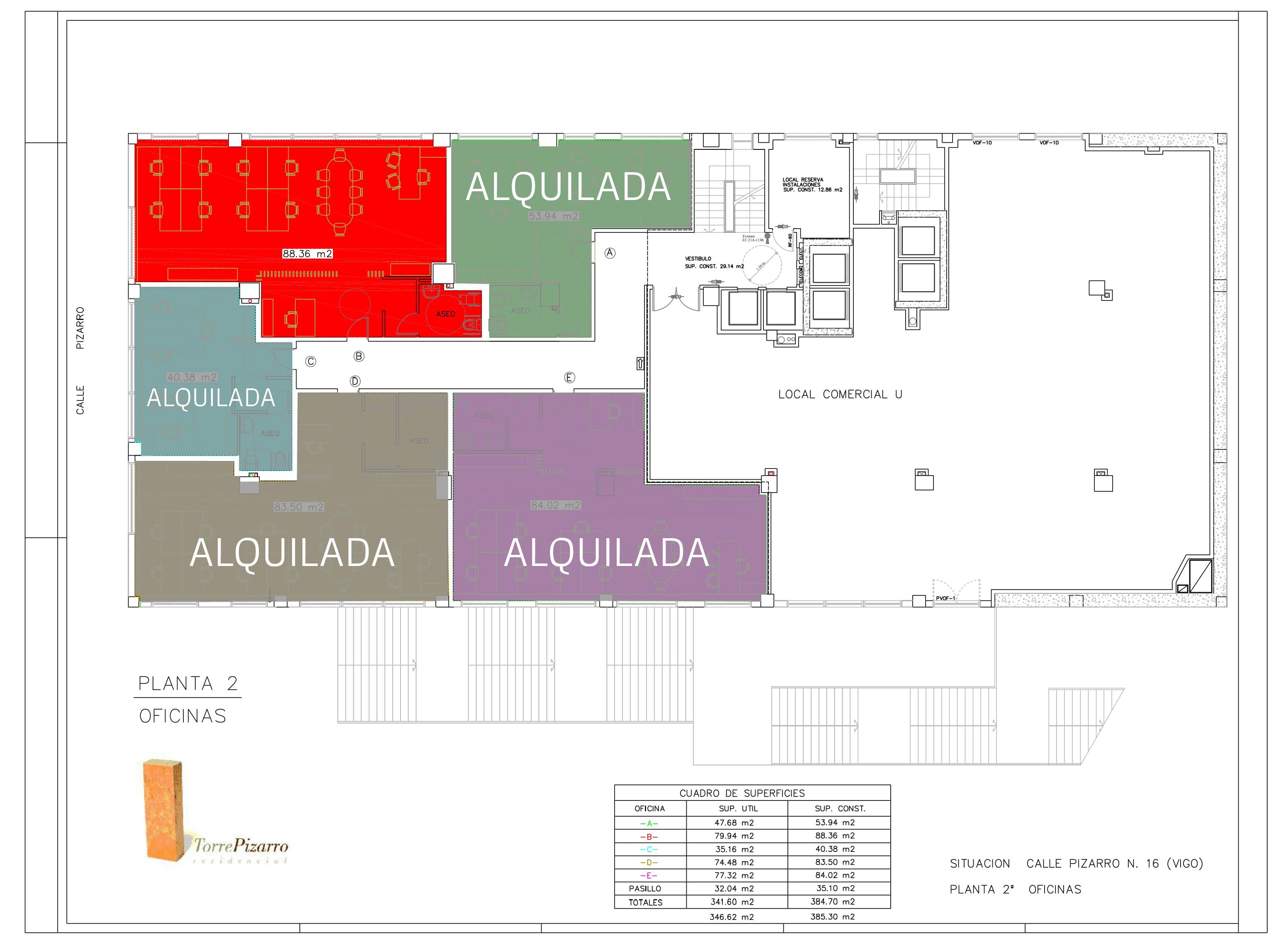 Plano oficinas disponibles alquiler Torre Pizarro
